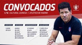 La lista de convocados ya es pública. Twitter/Atleti