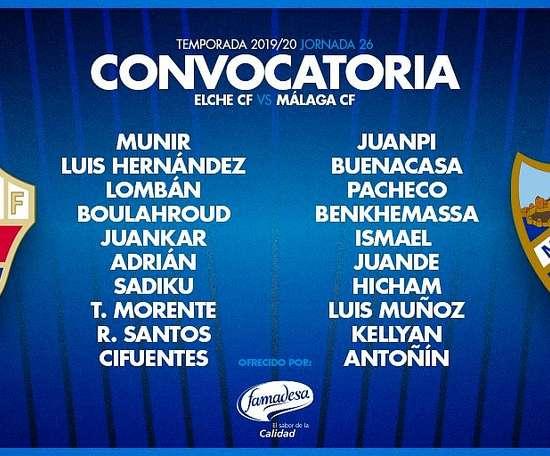 El Málaga anunció su convocatoria. Twitter/MalagaCF