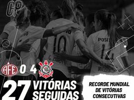 Time feminino do Corinthians iguala recorde mundial. Twitter/SCCPFutFeminino