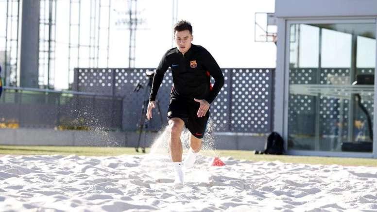 Así se machaca Coutinho para regresar cuando antes. FCBarcelona