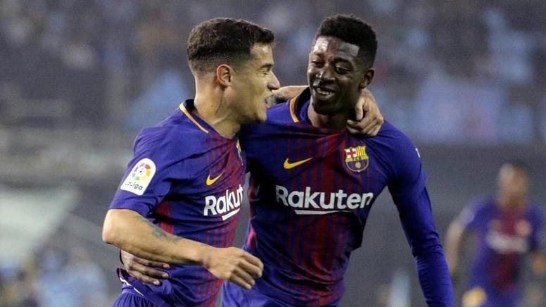 coutinho-felicita-a-dembele-por-su-gol-ante-el-celta-de-vigo--en-laliga-17-18--efe 'Sport' tiene dos dudas en el once de Valverde ante el Espanyol - Comunio-Biwenger