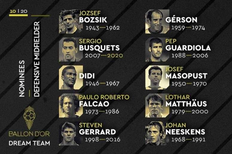 Estos son los nominados a mejores centrocampistas defensivos. Twitter/FranceFootball