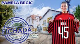 La centrocampista también es internacional por Eslovenia. Twitter/sportinghuelva