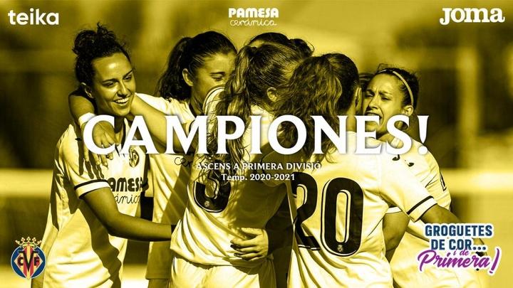 El Villarreal Femenino ya es de Primera. VillarrealCF