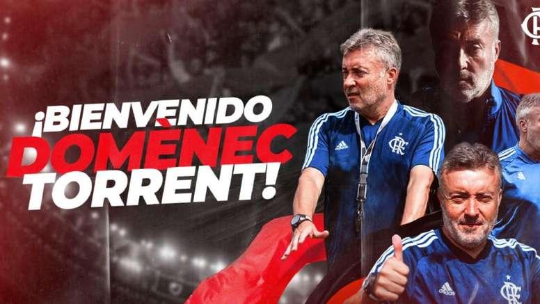 Domènec Torrent é o novo treinador do Flamengo. Twitter/Flamengo_es