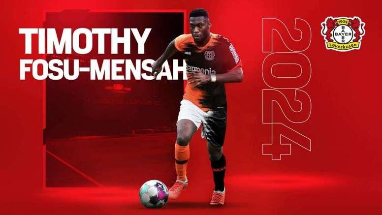 Fosu-Mensah llega hasta 2024. Twitter/bayer04fussball