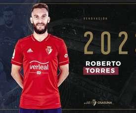 Osasuna renew Roberto Torres until 2023. Twitter/CAOsasuna
