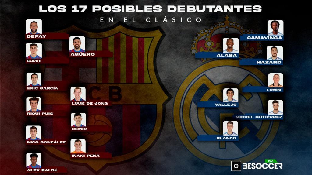 Les 17 possibles débutants du Clasico : Hazard, Memphis, Agüero...