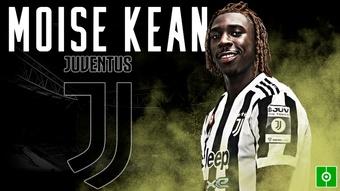 La Juventus confirmó la vuelta de Moise Kean. Captura/Juventus