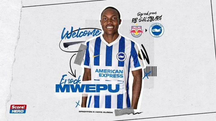 Enock Mwepu signe à Brighton. Brighton&HoveAlbion