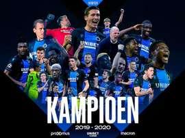 Campeonato Belga é cancelado e o Brugge é declarado campeão. Twitter/ClubBrugge