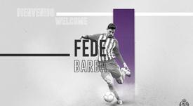 Fede Barba, nueva incorporación del Valladolid. Twitter/RealValladolid