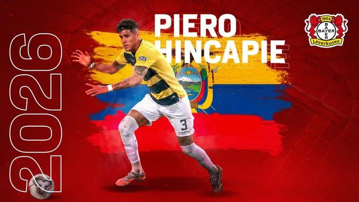 Piero Hincapié, nuevo refuerzo del Bayer Leverkusen. Twitter/Bayer04fussball