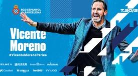 Vicente Moreno, nuevo técnico del Espanyol. Twitter/RCDEspanyol