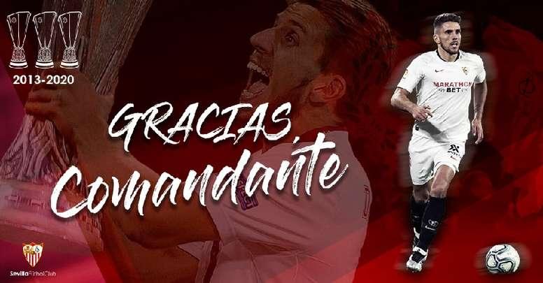 Carriço part en Chine. Twitter/SevillaFC