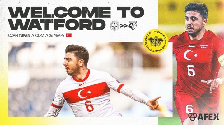 Ozan Tufan jugará esta temporada cedido en el Watford. Twitter/WatfordFC