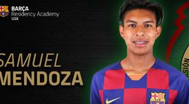 Samuel Mendoza gustó al Barça. Captura/BarçaAcademy