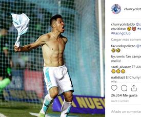 Cristaldo lució músculos con el gol a Defensa y Justicia. Instagram/churrycristaldo