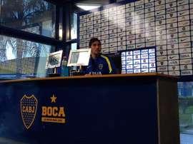 Cristian Erbes, jugador de Boca en la rueda de prensa pevia al Clásico. Twitter.