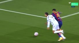 Ronaldo scored against Barcelona in the game. Screenshot/Movistar+LigadeCampeones