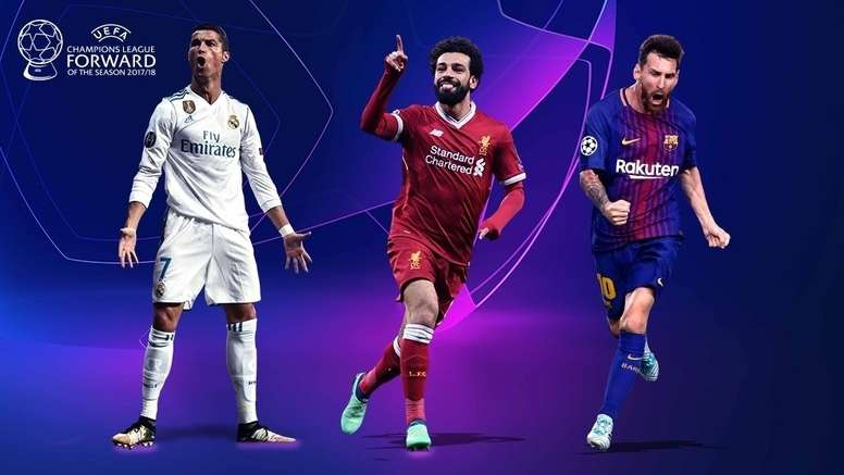Cristiano, Messi y Salah son los tres nominados de la UEFA. UEFA