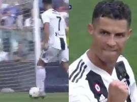 Cristiano Ronaldo, scoring his second goal against Sassuolo. GOL