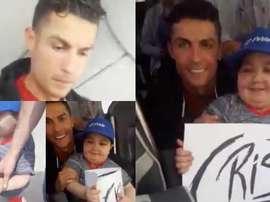 Ronaldo hugs a young leukaemia suffer who wanted to hug the Portuguese star. Facebook/TiagoVelhos