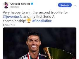 Cristiano celebró el título. Twitter/Cristiano