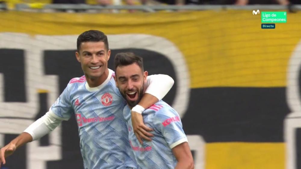 Cristiano, autor del primer gol de la Champions 2021-22. Captura/MovistarLigadeCampeones