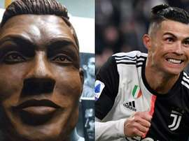 Criam uma escultura de chocolate em tamanho real de Cristiano Ronaldo. Captura/Twitter/TyCSports/AFP