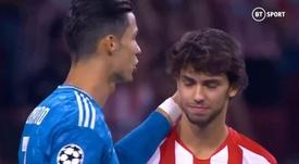 El gesto más paternalista de Cristiano con Joao Félix. Captura/BTSport