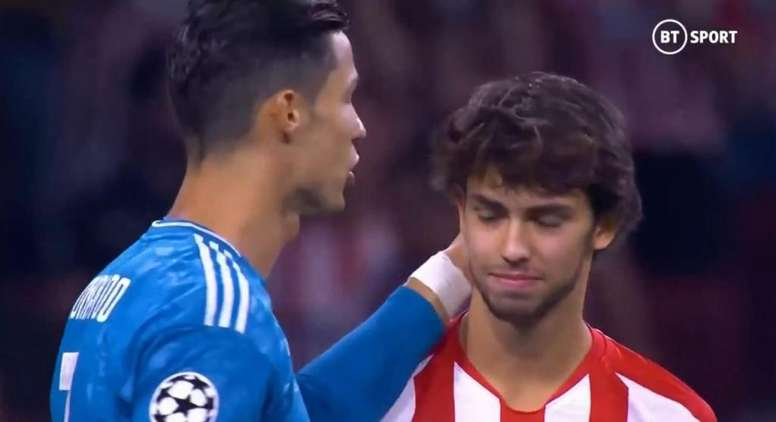 Cristiano and Joao Felix met for their respective team's UCL clash. Screenshot/BTSport