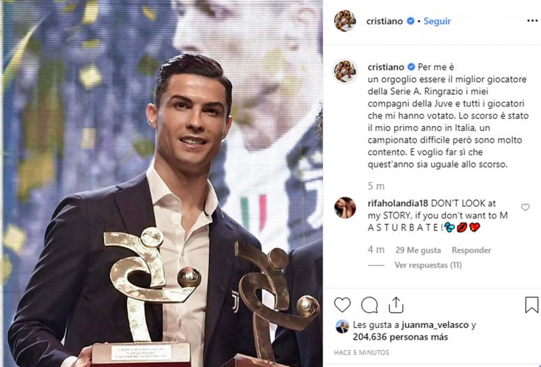 Cristiano se felicita por ser el mejor... en Italia. Instagram/Cristiano