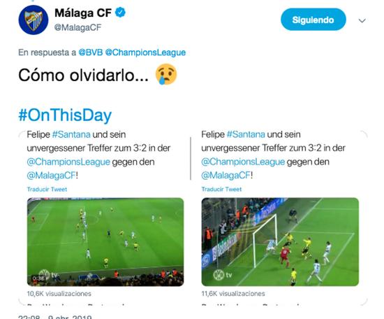 Málaga répond à Dortmund sur l'élimination en Ligue des Champions. MalagaCF