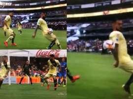 Cruz Azul clamó por un penalti por mano de Aguilera. Captura/Univision