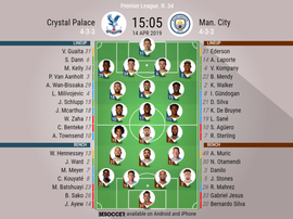 Crystal Palace v Manchester City, Premier League 2018/19, Matchday 34. Official line-ups. BESOCCER
