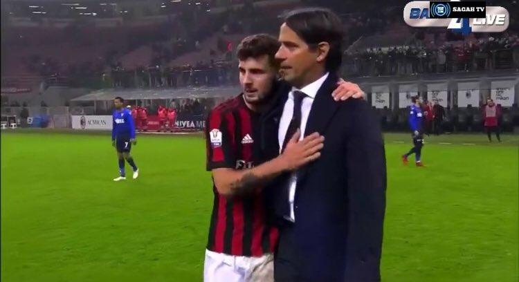 El bonito gesto de Cutrone con Inzaghi. Captura