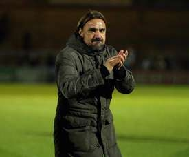 Daniel Farke led Norwich to a romp at the Liberty Stadium. twitter/NorwichCityFC