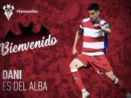 Dani Ojeda, cedido al Albacete. Twitter/AlbaceteBPSAD