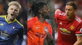 Daniel Wass, Emanuel Adebayor y Nemanja Matic tienen familia en el mundo del fútbol. EFE/AFP/BeSocce