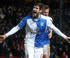 Danny Graham celebra su primer gol con el Blackburn. Twitter