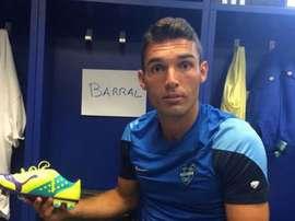 David Barral, jugador del Levante, en el vestuario. Twitter