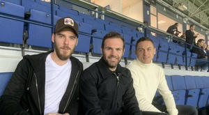 De Gea, Mata and Matic watched Malaga v Numancia at La Rosaleda. Twitter/MalagaCF