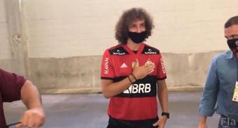 David Luiz apoyó a su equipo en el Palmeiras-Flamengo. Twitter/Flamengo