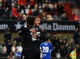 David Querol y Dejan Lekic celebran uno de los tantos del Reus ante el Lorca. LaLiga