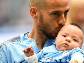 Silva showed off Mateo at the Etihad Stadium following his release from hospital. Twitter/ManCity