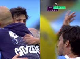 Guardiola's hug and tribute to Silva. Capturas/DAZN