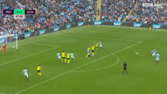 Silva curled home wonderfully just after the break. Screenshot
