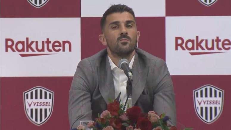 Spanish star striker Villa retires from football. Capture/VisselKobe