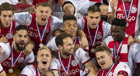 De Ligt avoided talking about Barcelona after Ajax's Eredivisie glory. Twitter/AFCAjax